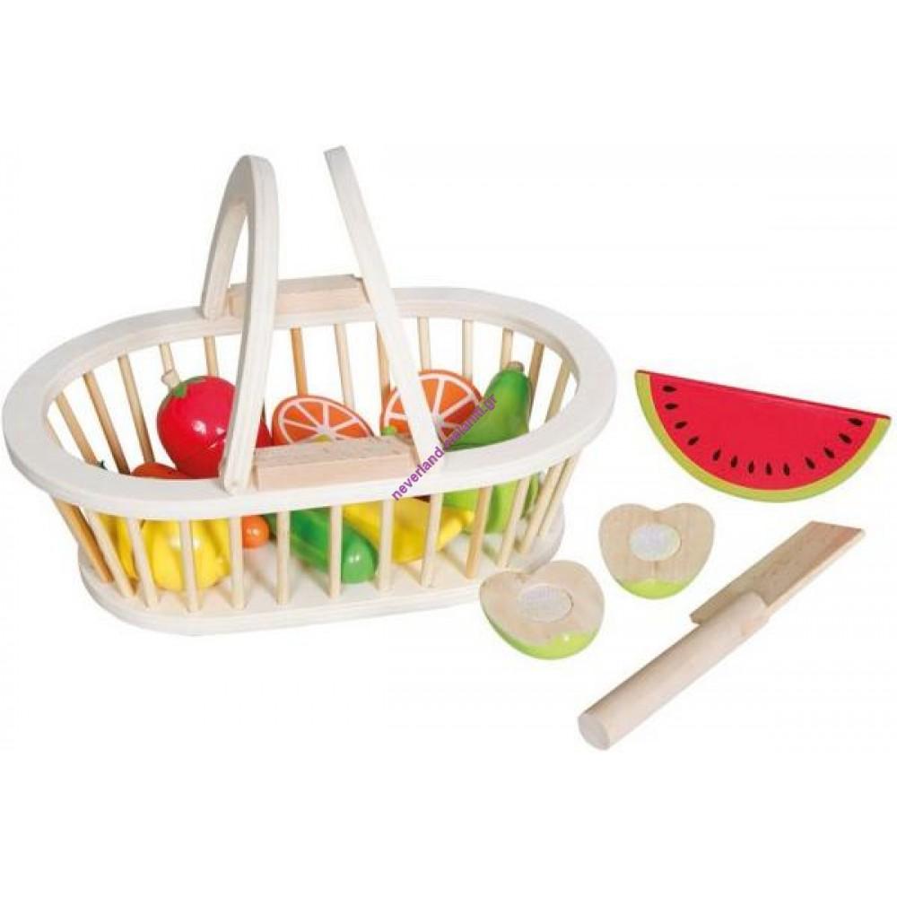 Καλάθι με ξύλινα φρούτα και μαχαίρι
