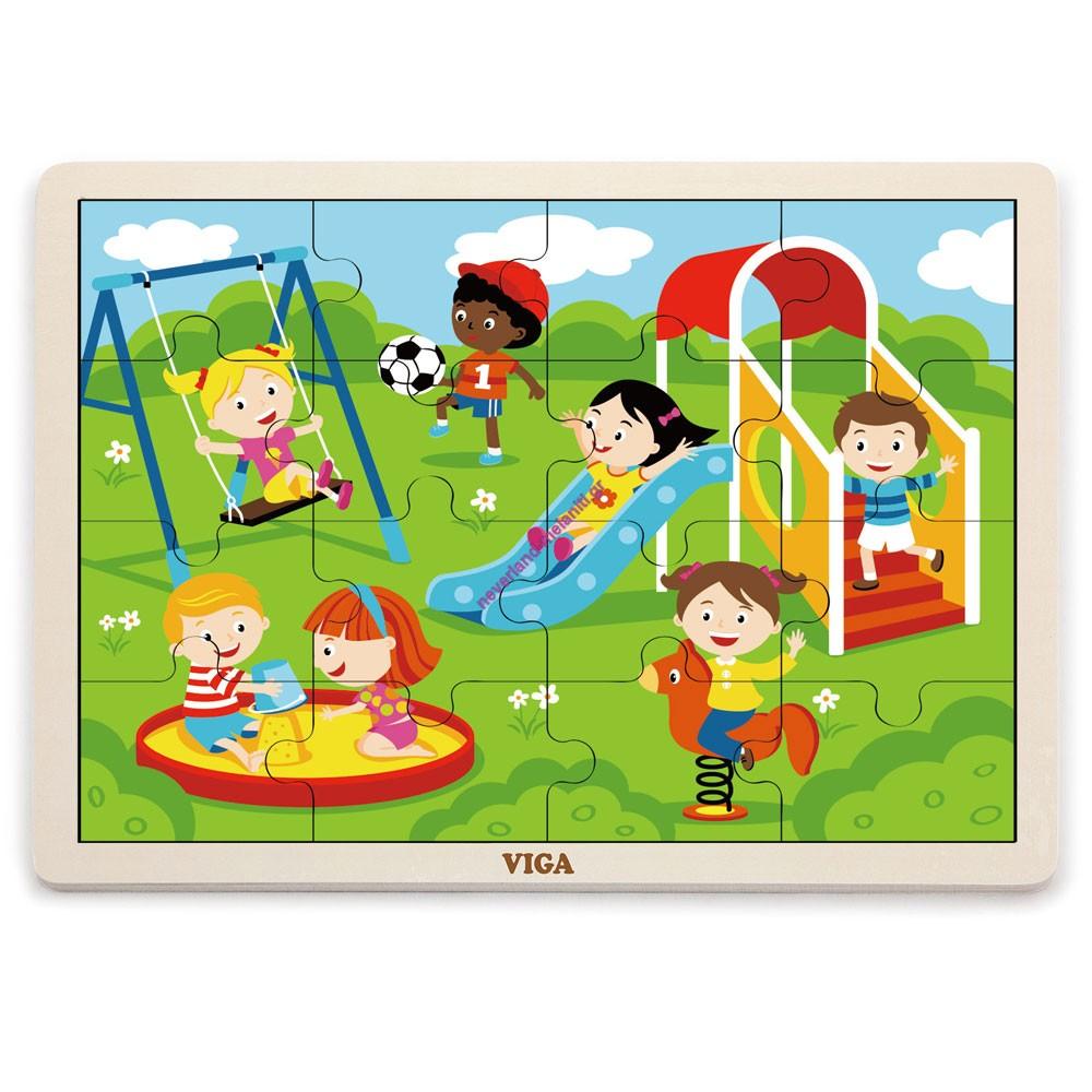 Ξύλινο Παζλ 16 τεμαχίων 'Παιδική Χαρά'