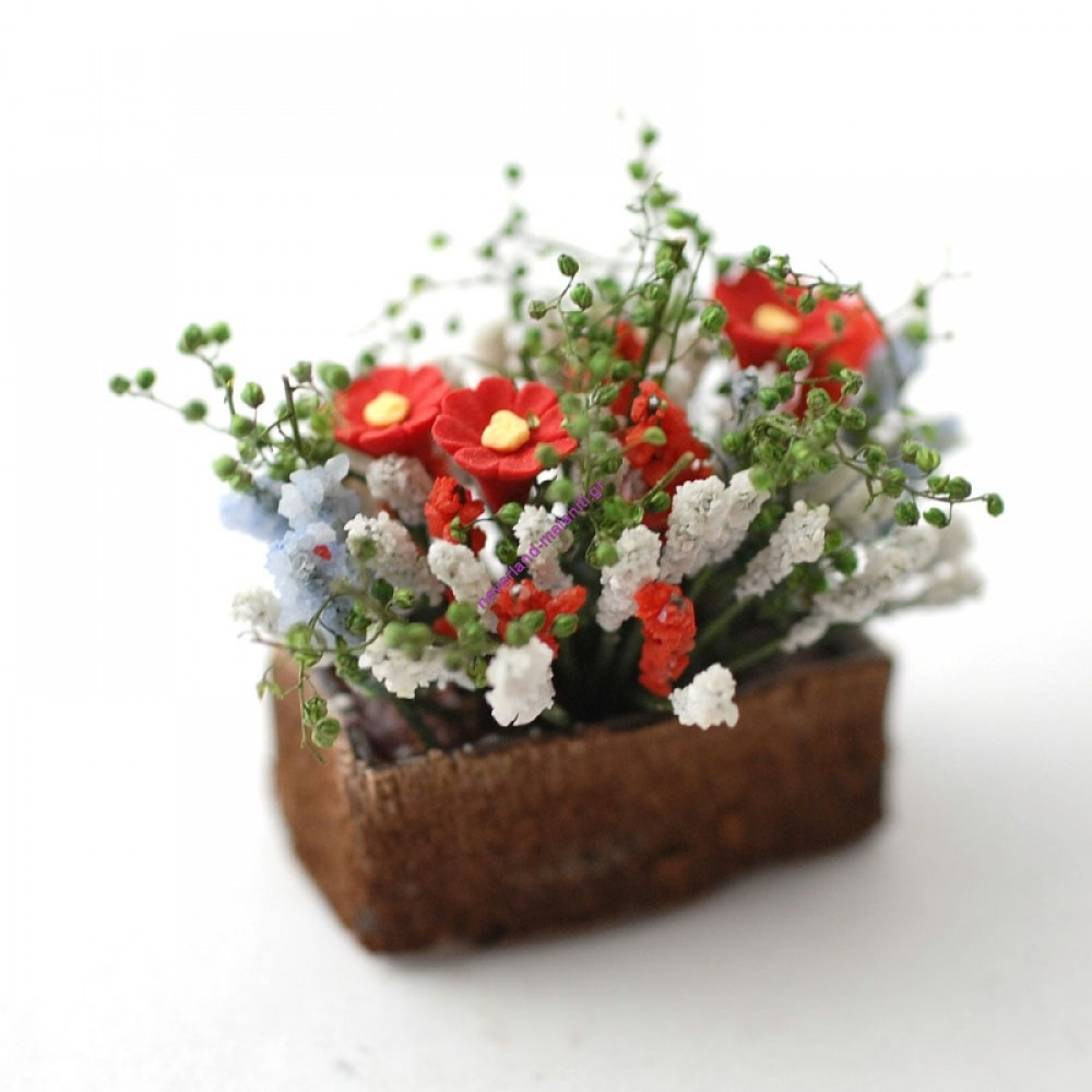 Ζαρντινιέρα μινιατούρα 4x 1,2x 3cm D1226 - Flowers in Trough ass