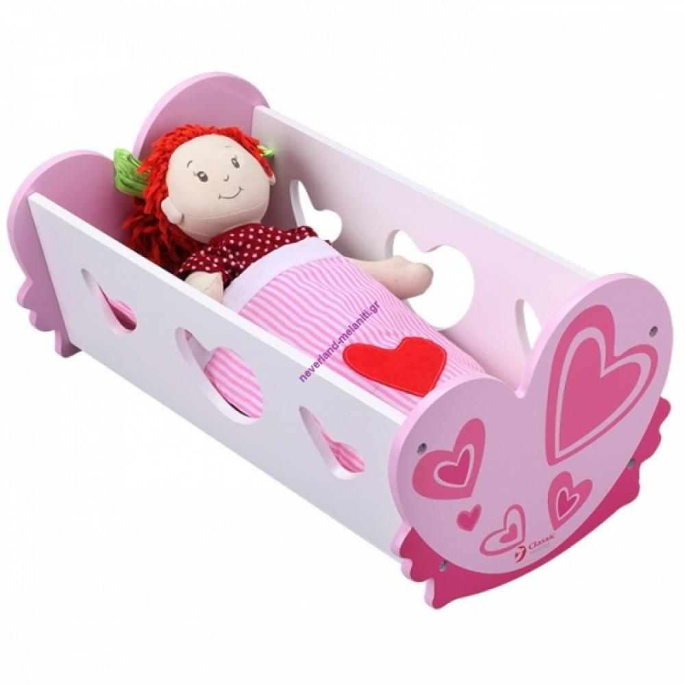 Κρεβάτι κούκλας ξύλινο