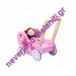 Καρότσι για κούκλες ξύλινo