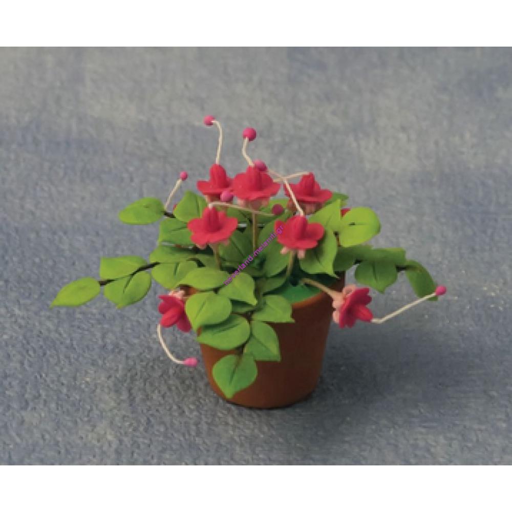 Φούξια σε γλάστρα μινιατούρα 1:12 D87037- Fuchsias in pot