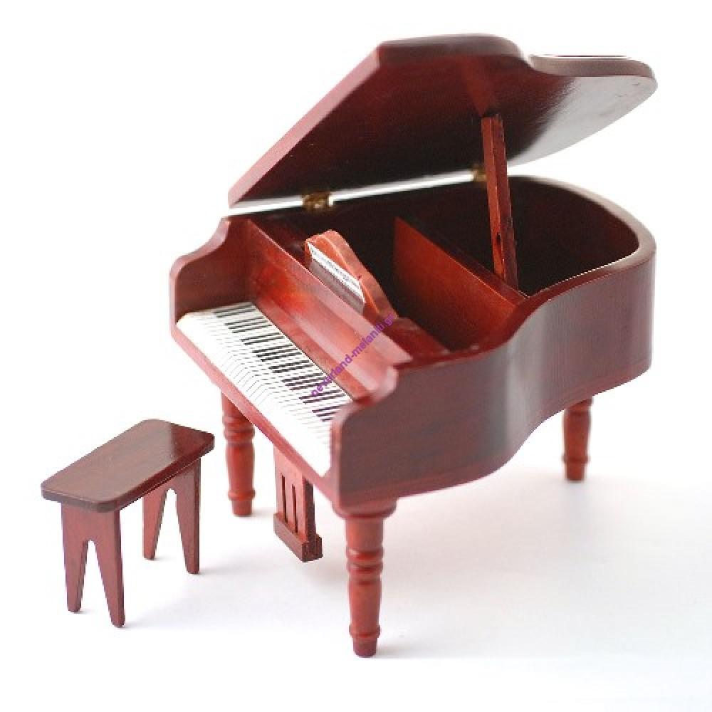 Πιάνο με κάθισμα μινιατούρα 1:12 DF106 - Grand Piano & Stool